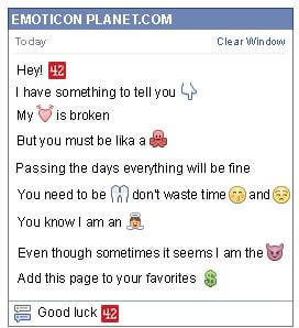 Conversation with emoticon 42 for Facebook