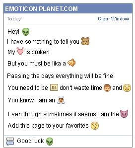 Conversation with emoticon Alien for Facebook