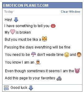Conversation with emoticon Arrow Pointing Down for Facebook