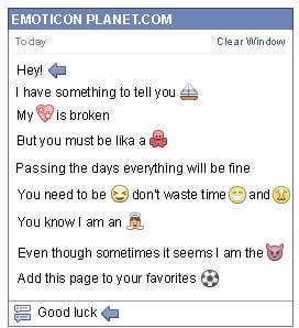 Conversation with emoticon Arrow Pointing to the Left for Facebook