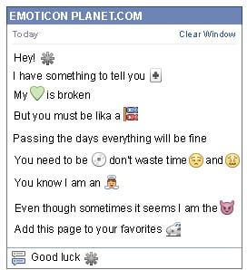 Conversation with emoticon Asterisk for Facebook