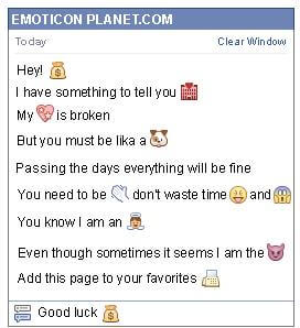 Conversation with emoticon Bag with Money for Facebook