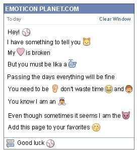 Conversation with emoticon Base Ball for Facebook