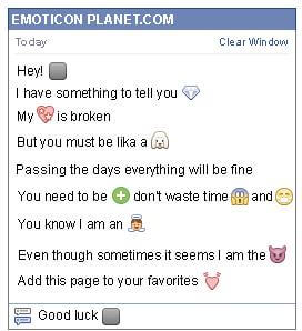 Conversation with emoticon Black Square with White Strips for Facebook