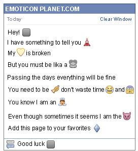 Conversation with emoticon Black Square for Facebook