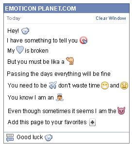 Conversation with emoticon Blowfish for Facebook