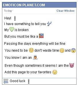 Conversation with emoticon Blue Exclamation Mark for Facebook