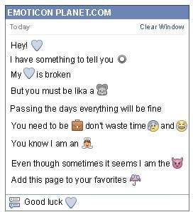 Conversation with emoticon Blue Heart for Facebook