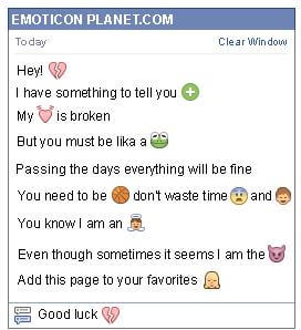 Conversation with emoticon Broken Heart for Facebook