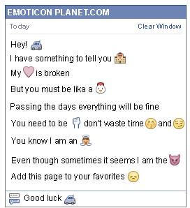 Conversation with emoticon Car for Facebook