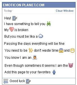 Conversation with emoticon Cell Phone Off for Facebook