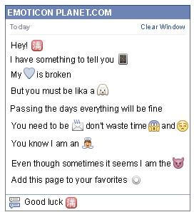 Conversation with emoticon Chinese full Symbol for Facebook