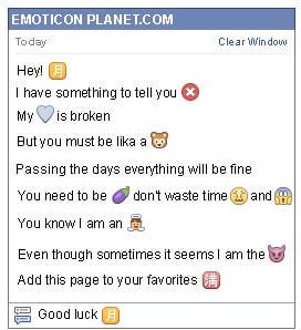Conversation with emoticon Chinese moon Symbol for Facebook