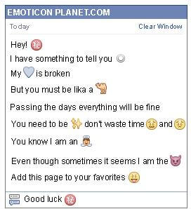 Conversation with emoticon Chinese secret Symbol for Facebook
