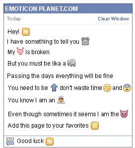 Conversation with emoticon Chinese Symbol of Lack for Facebook