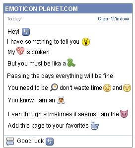 Conversation with emoticon Chinese Symbol for Facebook