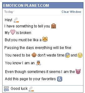 Conversation with emoticon Cigarette for Facebook