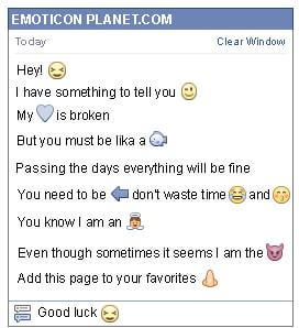 Conversation with emoticon Closed Eyes for Facebook