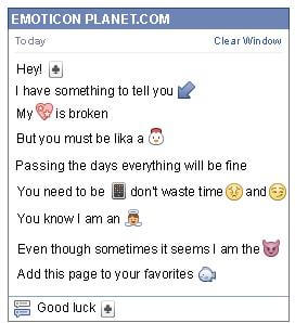 Conversation with emoticon Clover Card for Facebook
