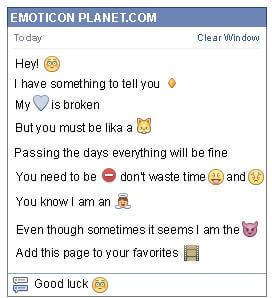Conversation with emoticon Concern for Facebook