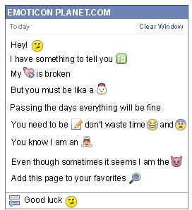 Conversation with emoticon Confused for Facebook