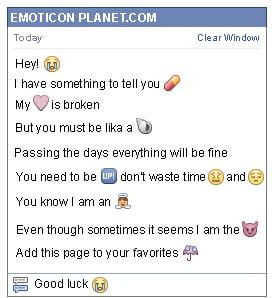 Conversation with emoticon Crying Face for Facebook