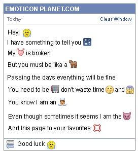 Conversation with emoticon Crying for Facebook