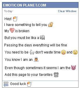 Conversation with emoticon Cup of Ice Cream for Facebook
