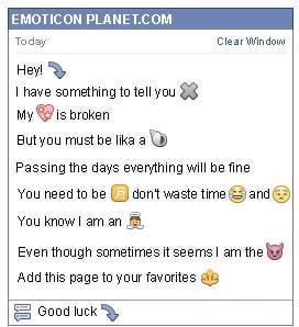 Conversation with emoticon Curved Arrow Looking Down for Facebook