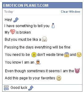 Conversation with emoticon Curved Arrow Looking Up for Facebook