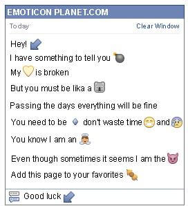 Conversation with emoticon Diagonal Arrow Pointing Down to the Left for Facebook
