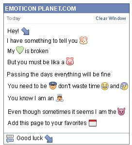 Conversation with emoticon Diagonal Arrow Pointing Down to the Right for Facebook