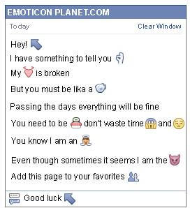 Conversation with emoticon Diagonal Arrow Pointing Up to the Left for Facebook