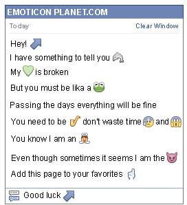 Conversation with emoticon Diagonal Arrow Pointing Up to the Right for Facebook