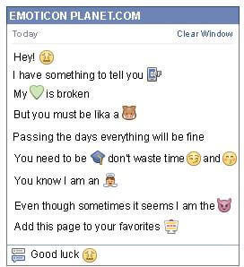 Conversation with emoticon Disgust for Facebook