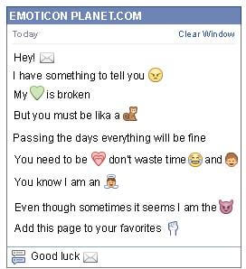 Conversation with emoticon Email for Facebook