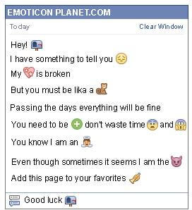Conversation with emoticon Empty Mailbox for Facebook