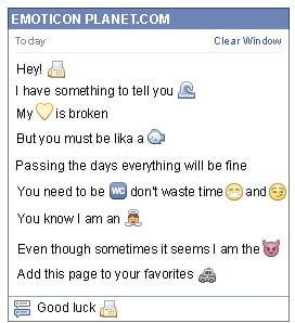 Conversation with emoticon Fax for Facebook
