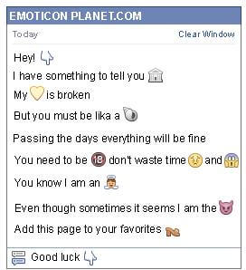 Conversation with emoticon Finger Pointing Down for Facebook