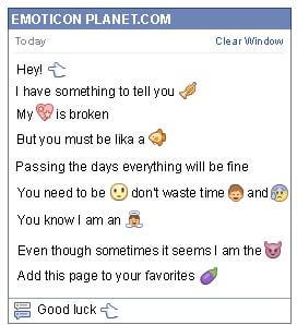 Conversation with emoticon Finger Pointing to the Left for Facebook