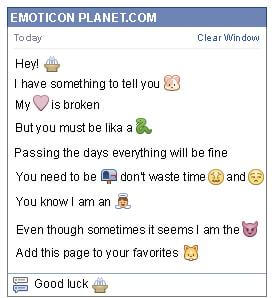 Conversation with emoticon Fountain for Facebook