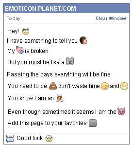 Conversation with emoticon Glasses for Facebook