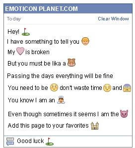 Conversation with emoticon Golf for Facebook