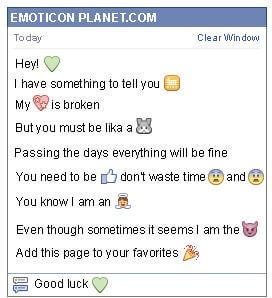 Conversation with emoticon Green Heart for Facebook