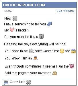 Conversation with emoticon Grey X Letter for Facebook