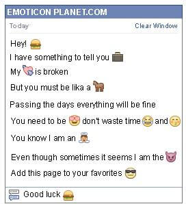 Conversation with emoticon Hamburger for Facebook