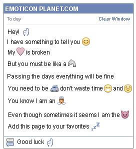 Conversation with emoticon Hand for Facebook