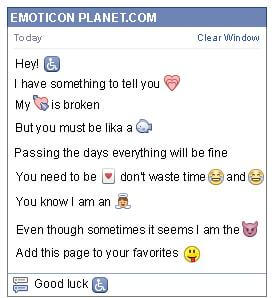 Conversation with emoticon Handicapped Symbol for Facebook