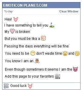 Conversation with emoticon Heart Beating for Facebook