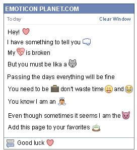 Conversation with emoticon Heart for Facebook